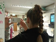 High ponytail abd 4 strand round braid
