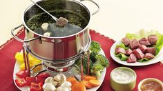 Fondue is back!  And it's better than ever when meat, poultry and veggies are fondue-cooked then dipped into this creamy cucumber sauce.