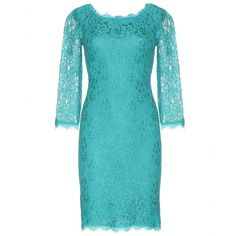 Diane von Furstenberg - Zarita lace dress  - From summer weddings to dinner dates, Diane von Furstenberg's turquoise lace dress is an elegant choice. Three-quarter sleeves and a demure length contrast the alluring zipped back. Highlight the delicate eyelash trims next to bare bronzed legs. seen @ www.mytheresa.com