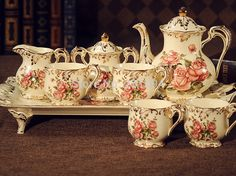 luxury European antique bone Coffee & Tea 12 sets Beige Rose pattern Grilled gold Tray, teapot, milk pot, sugar bowl, cup, spoon