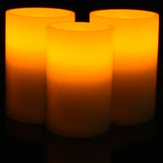 "Set of Three 6"" Wax Candles with Flickering Amber LEDs (without timers)"