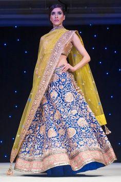 Manish Malhotra blue and citron lehenga. Love the color combination! Love the colours India Fashion, Ethnic Fashion, Asian Fashion, Indian Bridal Wear, Indian Wear, Bride Indian, Asian Bride, Saris, Indian Dresses