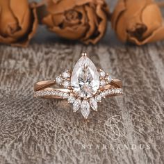 Your place to buy and sell all things handmade Pear Shaped Engagement Rings, Engagement Ring Shapes, Dream Engagement Rings, Rose Gold Engagement Ring, Pear Wedding Ring, Engagement Ring Settings, Solitaire Engagement, Marquise Wedding Set, Different Engagement Rings