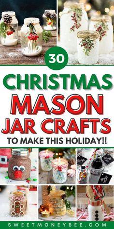 Handmade Christmas Crafts, Mason Jar Christmas Crafts, Homemade Christmas Gifts, Homemade Crafts, Christmas Crafts For Kids, Jar Crafts, Holiday Crafts, Christmas Diy, Christmas Projects