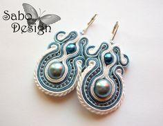 Ooak earrings white blue beautiful soutache by SaboDesign on Etsy, $54.00