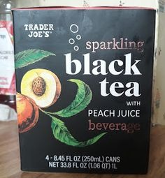 What's Good at Trader Joe's?: Trader Joe's Sparkling Black Tea with Peach Juice Beverage Peach Juice, Fancy Schmancy, Trader Joe's, Sweet Tea, Haha Funny, Summer Drinks, Home Brewing, Beverages, Sparkle