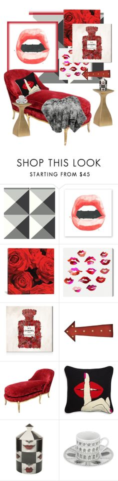 """""""Lips and The Red Velvet Chaise Lounge..."""" by kimberlyd-2 ❤ liked on Polyvore featuring interior, interiors, interior design, home, home decor, interior decorating, iCanvas, Oliver Gal Artist Co., Lazy Susan and Jonathan Adler"""