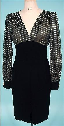 c. 1980's GIVENCHY NOUVELLE BOUTIQUE, Paris Black Silk Velvet Wiggle Dress with Gold Metal Bodice