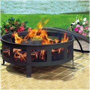 Sunnydaze Large Crossweave Outdoor Fire Pit With Spark Screen And Poker Round Wood Burning Patio Firepit Bowl 36 Fire Pit Patio Outdoor Fire Pit Outdoor Fire