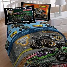 4pc Monster Jam Twin Bedding Set Grave Digger Monster Truck Comforter and Sheet Set  $79.58 http://www.amazon.com/gp/product/B00U03TF62/ref=as_li_qf_br_asin_il_tl?ie=UTF8&camp=1789&creative=9325&creativeASIN=B00U03TF62&linkCode=as2&tag=wordshadows-20&linkId=6TJ7PBTKZ2XSQPE5