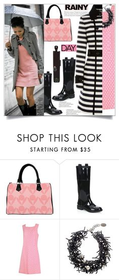 """""""Cute But Functional"""" by atelier-briella ❤ liked on Polyvore featuring Jimmy Choo, Guy Laroche, Black, Karen Millen, Alexander McQueen, stripes, rainyday, handbag and nude"""