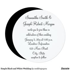 Simple Black and White Wedding Card