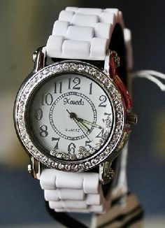 *WHITE* Jelly watch with rhinestone accents! New!