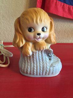Vtg Baby Nursery Puppy Lamp Aladdin Giftware Light Works   eBay
