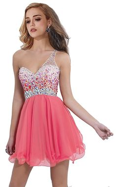 Rongstore® women`s Homecoming Dresses One Shoulder Rhinestones *** Review more details here : cocktail dresses