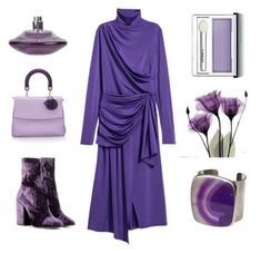 """How to dress Ultra-Violet #1"" by kjstylerussia on Polyvore featuring Christian Dior, Dries Van Noten, Chanel, Romeo Gigli, Clinique and H&M"