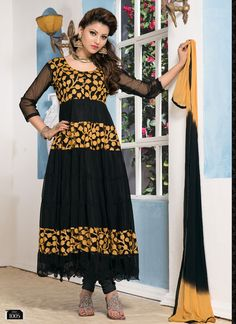 Blck Brasso And Simple Anarkali Suits V & V-SEM385-1005 - Online Shopping Marketplace Shopdrill.com