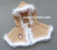 Free hooded cape with fluffy edge baby crochet pattern http://www.justcrochet.com/short-hooded-cape-usa.html #justcrochet