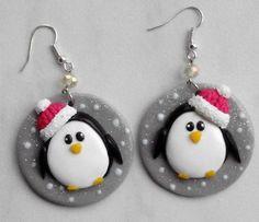 Boucles Penguin fimo: