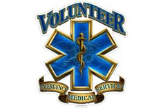 Volunteer Emergency Medical Services EMS Gold Shield Reflective Decal from Mustang Loot