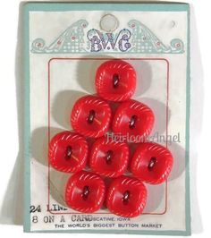 Vintage Colt Fire Arms NOS Red Plastic Buttons on Card, Rounded Square