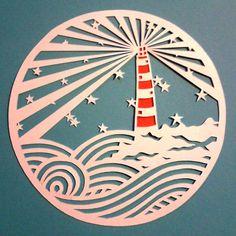 Lighthouse beachy papercutting. Original by HullabalooPapercuts