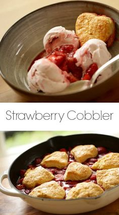 Learn how to make strawberry cobbler. If your Valentine's Day involves entertain… Learn how to make strawberry cobbler. If your Valentine's Day involves entertaining for a crowd, then my Strawberry Cobbler with Heart Shaped Biscuits will do just that! Strawberry Cobbler, Strawberry Dessert Recipes, Quick Dessert Recipes, Easy Summer Desserts, Easy Summer Meals, Desserts For A Crowd, Fancy Desserts, Strawberry Crisp, Birthday Desserts