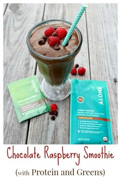 Chocolate Raspberry Smoothie with Protein and Greens :http://ourlittleeverything.com/recipe/chocolate-raspberry-smoothie/