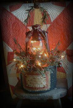 "Primitive 20"" Farmhouse Christmas Early Lighting Lantern Granite Pan Gathering | eBay"