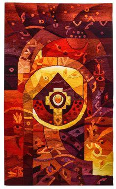 """Tejidas a mano tapiz peruano, """"Santuario del sol"""", Vertical, pared que cuelga, Alpaca, tapices por Maximo Laura, hecho a mano, Textiles Perú"""