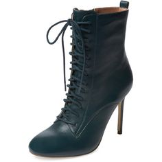 Renvy Vania Lace-Up Bootie ($89) ❤ liked on Polyvore featuring shoes, boots, ankle booties, blue, leather booties, lace up ankle booties, ankle boots, leather boots and high heel booties