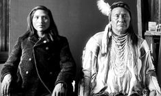 Nez Perce Chief Joseph and his nephew Amos Wilkinson. 1897. - Glass Negatives of Indians (Collected by the Bureau of American Ethnology) 1850s-1930s.