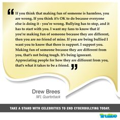 #DrewBrees Take a stand with celebrities to end #Cyberbullying today!