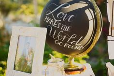Found this world globe at a thrift store and gave it a coat of black chalk paint and hand wrote on it with a piece of chalk as a fun prop for my daughter's sign-in table at her wedding reception. I plan on using it and changing the words throughout the year. For instance, JOY TO THE WORLD, would be fun at christmas time.