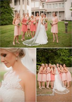 peach bridesmaid dresses | gold and peach wedding ideas | peach bridal party | #weddingchicks