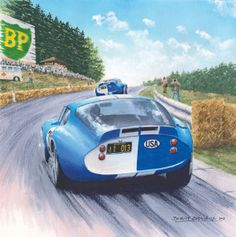 """Cobra's In The Woods"" by Benoît Deliège John Whitmore (21) Bob Bondurant (20 Cobra Daytona 500 km Spa 1965 Watercolor 38x38cm"