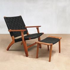 New abuelo leather armchair. Seen here with the footstool. Www.masayacompany.com #furniture #finefurniture #sustainable #wood #handmade #handcrafted #modern #woodworking #design #midcentury #interiordesign #interiors #homedecor #nashvilleinteriors #nashvi