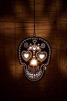 Sugar Skull Tea Light Candle Holder