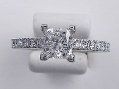 1.32 CTW Princess Cut Diamond Engagement Ring F by JacolizJewelry, $4990.00