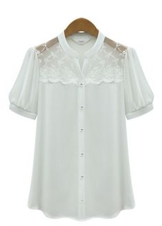 Simple Pure Color Short Sleeve Blouse For Women