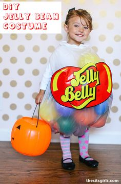 DIY Jelly Belly Halloween Costume for kids. This is the cutest homemade halloween costume ever, and it only costs $5 to make! Jelly Bean Halloween Costume, Easy Homemade Halloween Costumes, Diy Halloween Costumes For Kids, Diy Costumes, Zombie Costumes, Halloween Couples, Group Halloween, Family Costumes, Group Costumes