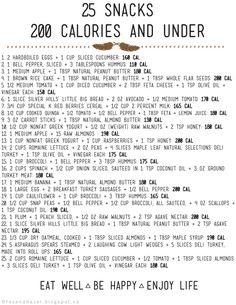 Free Printable: 25 Snacks - 200 Calories &  via Fox + Hazel