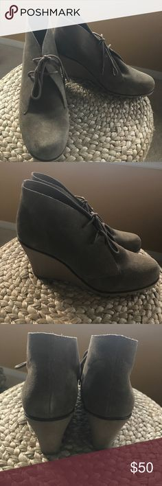 Kelsi Dagger Suede wedge Lace Up booties size 10 Perfect for fall! Kelsi Dagger 'Fanetta' Suede Lace Up booties. Light brown/taupe color. Rubber wedge bottoms. Minimal wear to heels/bottoms. Overall great condition. Size 10. Kelsi Dagger Shoes Ankle Boots & Booties