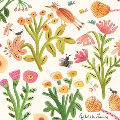 This garden doesn't need water or sun just imagination to plant more seeds :) #garden #nature #flora #florals #illustration #prints #artoftheday