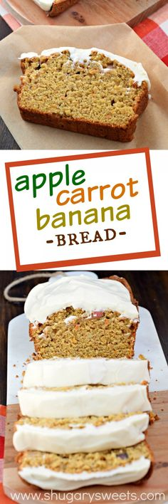 As if this Apple Banana Carrot Bread wasn't sweet enough adding the cream cheese frosting takes this bread recipe to a whole new delicious level! Banana Recipes, Apple Recipes, Bread Recipes, Sweet Recipes, Cake Recipes, Dessert Recipes, Cooking Recipes, Bread Cake, Dessert Bread