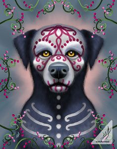 Grimaldi the Sugar Skull Dog Mini Canvas Board Sugar Skull Cat, Sugar Skull Design, Sugar Skulls, Dog Skull, Dog Wrap, Folk, Day Of The Dead Art, Indie Art, Candy Skulls