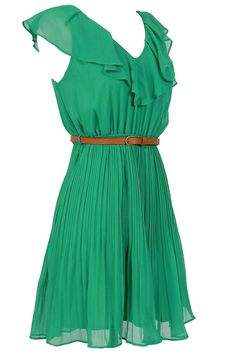 Emerald Ruffle Neckline Belted Dress -- it would probably be too short, but it's still cute