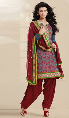 G3 Fashions Teal blue maroon cotton designer patiala Salwar Suit Product Code : G3-LSA106760 Price : INR RS 2278