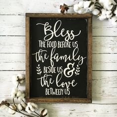 Bless the Food Before Us Wood Sign, Rustic Wood Sign, Framed Sign, Kitchen Sign…