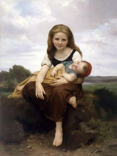 """""""The Elder Sister"""" or """"Siesta for Sister"""" -- by William Adolphe Bouguereau (1825-1905 French)"""